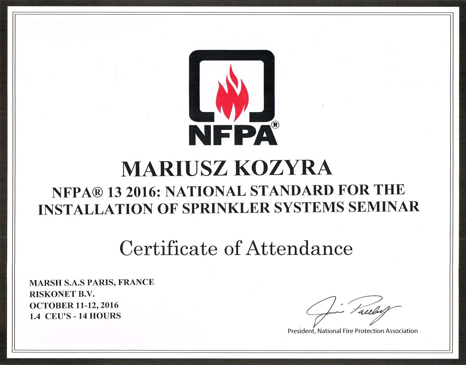 certyfikaty_nfpa13-2016_mariusz-kozyra